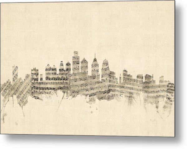 Philadelphia Pennsylvania Skyline Sheet Music Cityscape Metal Print
