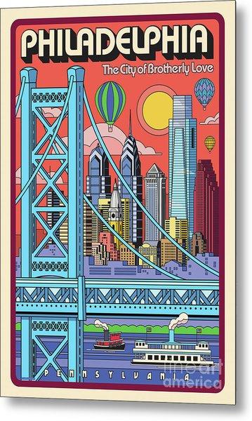 Philadelphia Pop Art Travel Poster Metal Print