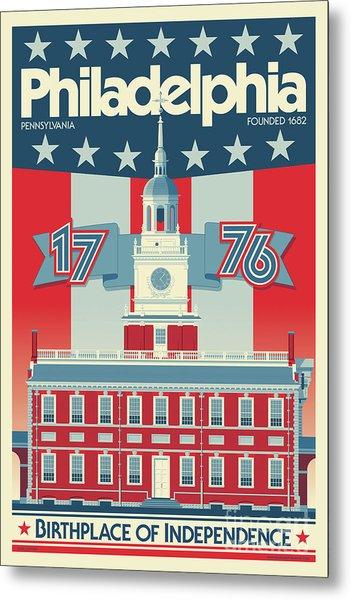 Philadelphia Vintage Travel Poster Metal Print
