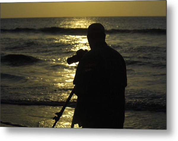 Photographer And Atlantic Ocean Sunrise Metal Print by Darrell Young