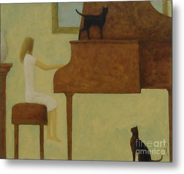 Piano Two Cats Metal Print