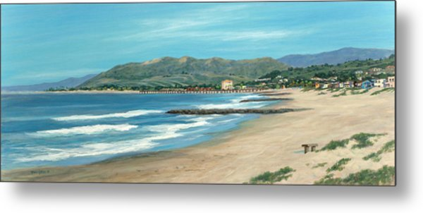 Pierpont Beach And The Bench Metal Print by Tina Obrien