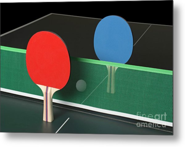 Ping Pong Paddles On Table, Standing Upright Metal Print