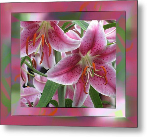 Pink Lily Design Metal Print