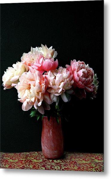 Pink Peonies In Pink Vase Metal Print