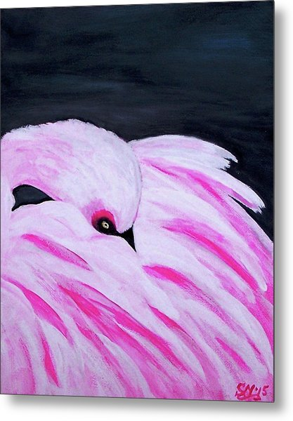 Metal Print featuring the painting Pink Primping Flamingo by Sonya Nancy Capling-Bacle