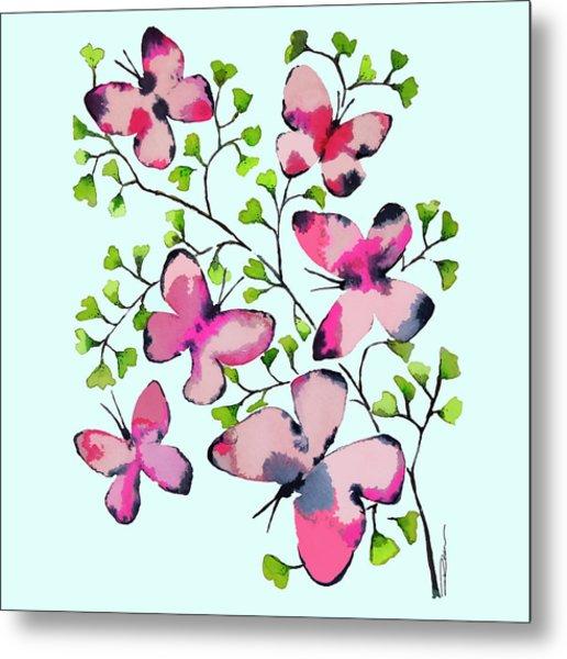 Pink Profusion Butterflies Metal Print