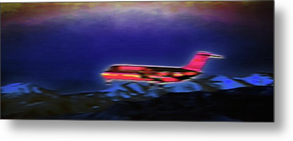 Plane Landing At Airport - The Red Eye Flight Metal Print by Steve Ohlsen