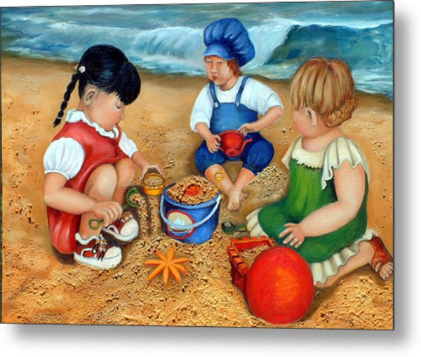 Playtime At The Beach Metal Print