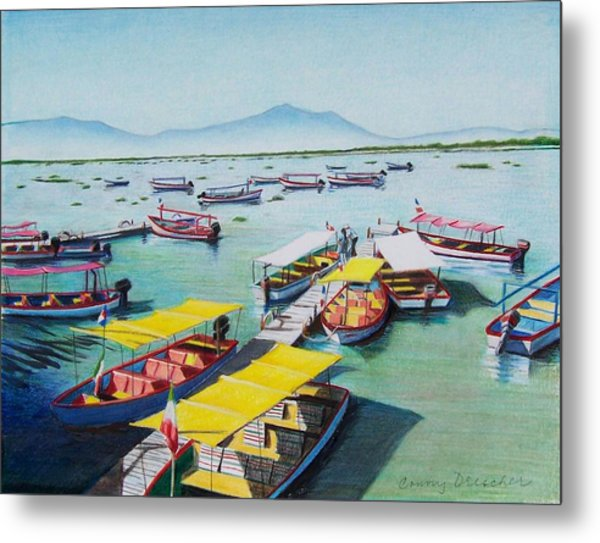 Pleasure Boats On Lake Chapala Metal Print