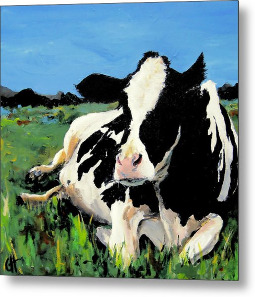 Polly The Cow Metal Print by Cari Humphry