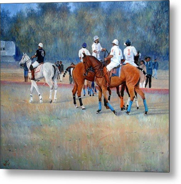 Polo Horses Painting Metal Print by Abid Khan