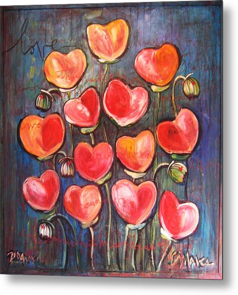 Poppies Are Hearts Of Love We Can Give Away Metal Print