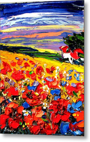 Poppies In The Spring Time.  Metal Print by Maya Green