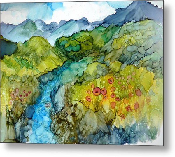 Poppy Mountains Metal Print