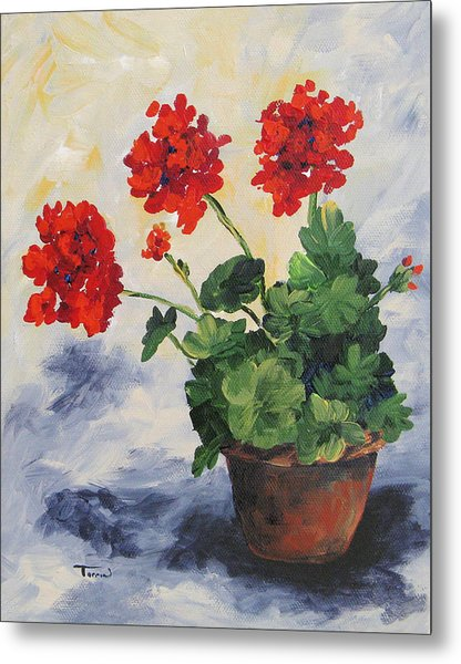 Porch Geraniums Metal Print