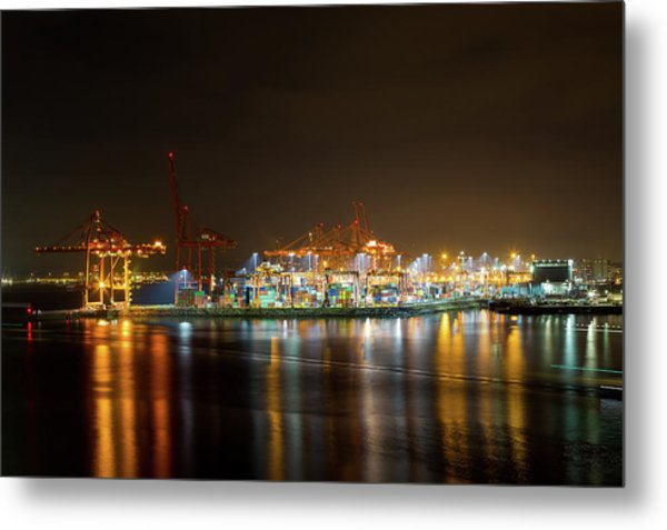 Port Of Vancouver Bc At Night Metal Print