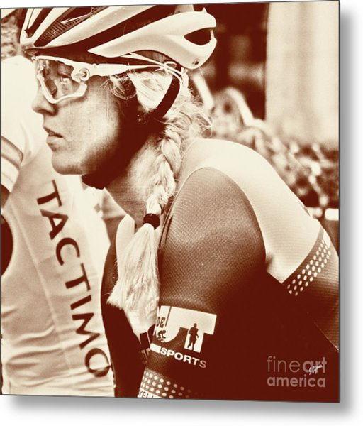 Portrait In Cycling  Metal Print by Steven Digman