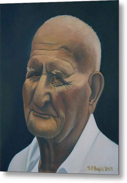 Portrait Of Old Man In St. Louis Metal Print by Stephen Degan