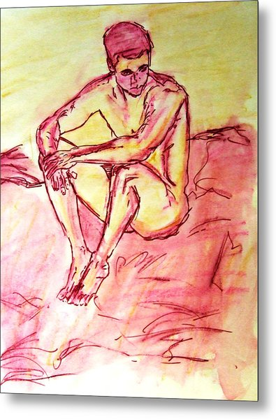 Portrait Of Thinking Young Male Seated Figure Nude Watercolor Painting In Purple Yellow Sketchy Metal Print