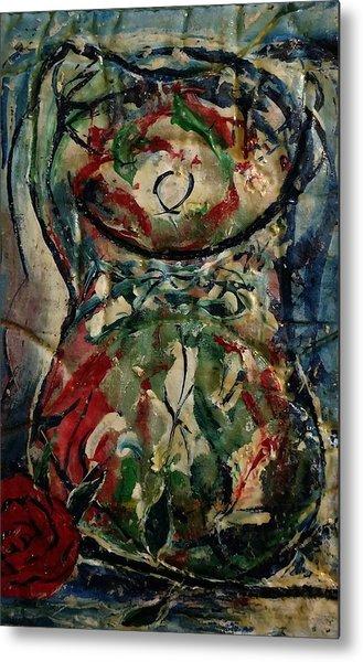 Potpourri Vase With Rose Metal Print