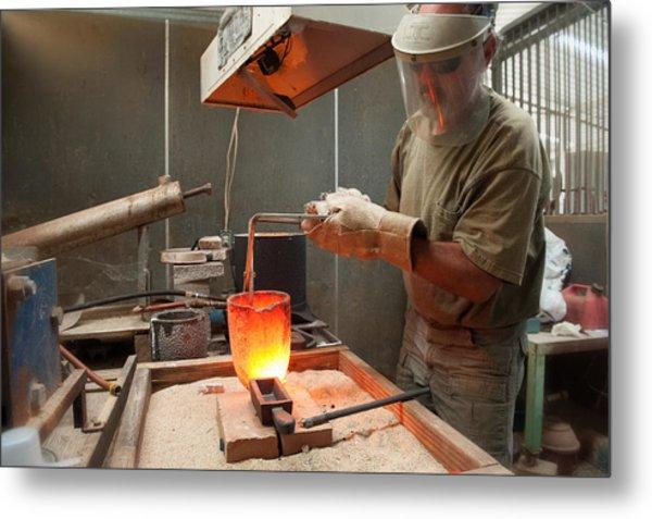 Pouring A 90oz Gold Bar-3 Metal Print