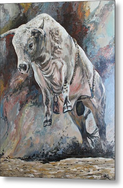 Power Of The Bull Metal Print by Leonie Bell