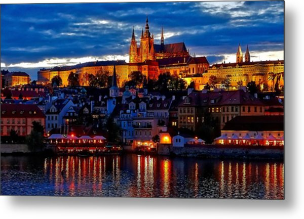 Prague Castle In The Evening Metal Print