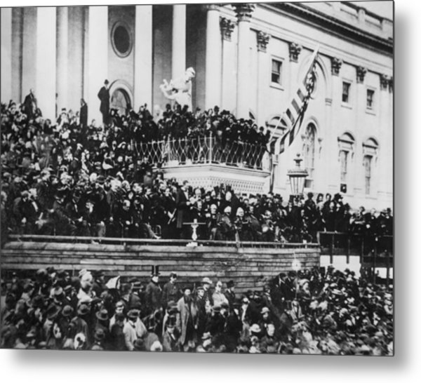 President Lincoln Gives His Second Inaugural Address - March 4 1865 Metal Print