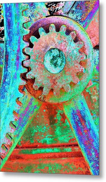 Psychedelic Gears Metal Print