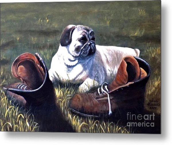 Pug And Boots Metal Print