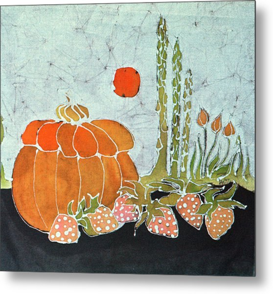 Pumpkin And Asparagus Metal Print