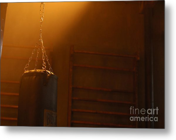 Punching Bag In The Light Metal Print