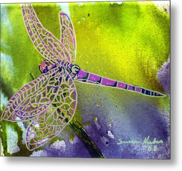 Purple Dragonfly Metal Print by Susan Kubes