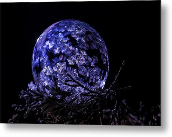 Purple Frozen Bubble Art Metal Print