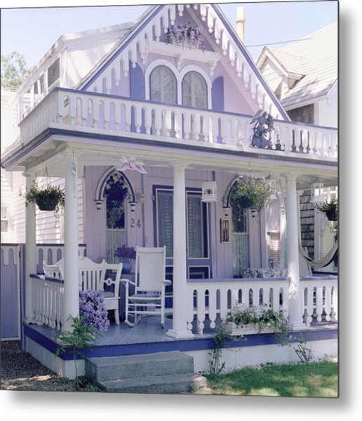 Purple Gingerbread House Metal Print by Rose Martin
