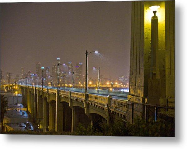 Rain On The Sixth Street Bridge  Metal Print by Kevin  Break