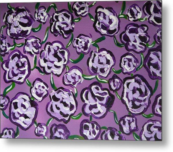 Rainbow Flowers Violet Metal Print