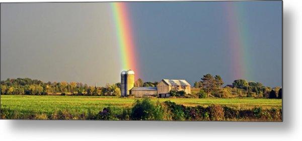 Rainbow Over Barn Silo Metal Print