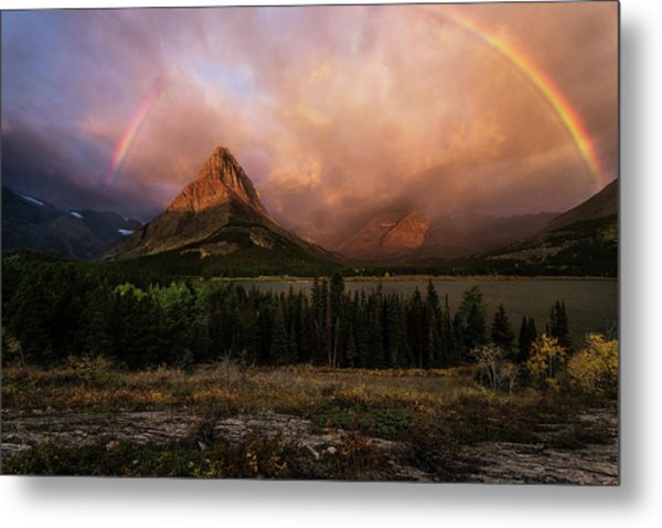 Rainbow Over Mt Gould Metal Print