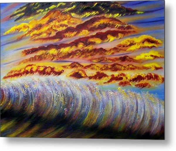 Rainbow Waves Metal Print by Marie Lamoureaux