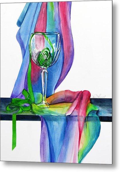 Rainbow Wine Glass Metal Print