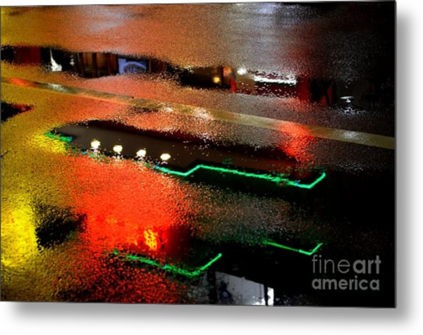 Rainy Night In Chinatown Metal Print