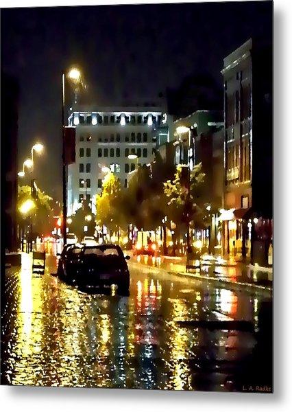 Rainy Night In Green Bay Metal Print