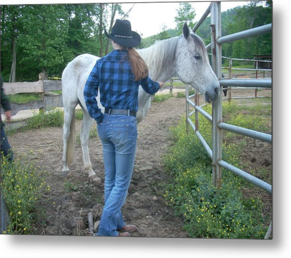 Ranchhand With Horsey Metal Print by Beebe Barksdale-Bruner