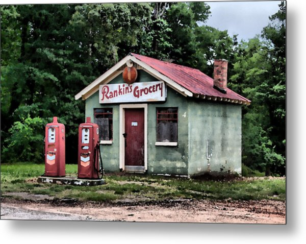 Rankins Grocery In Watercolor Metal Print