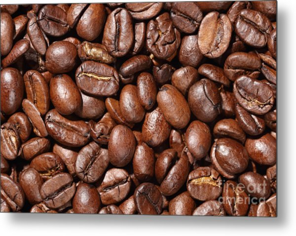 Raw Coffee Beans Background Metal Print