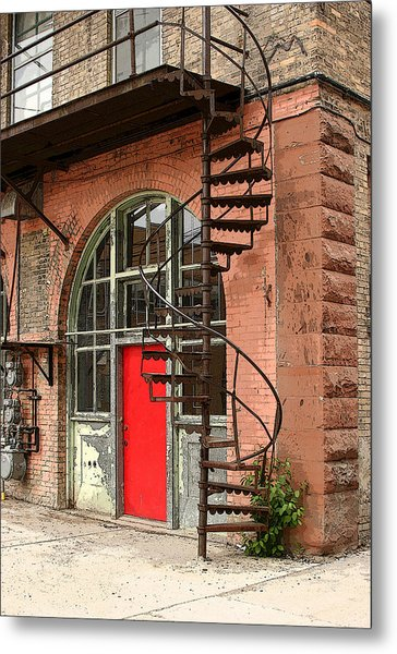 Red Alley Door Metal Print