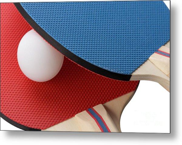Red And Blue Ping Pong Paddles - Closeup Metal Print