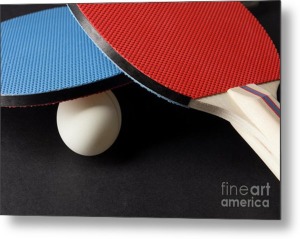 Red And Blue Ping Pong Paddles - Closeup On Black Metal Print